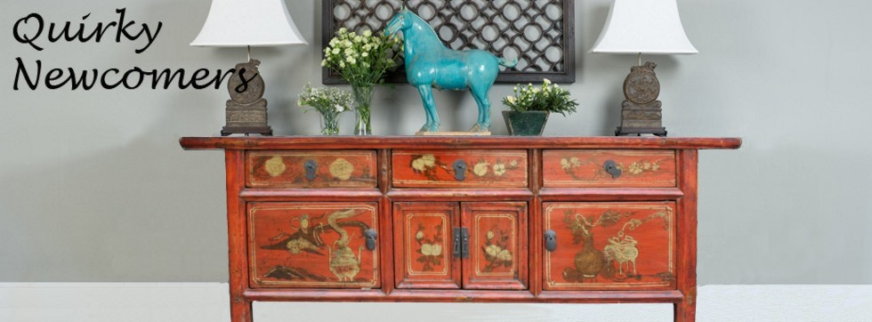 Original Painted Red Chinese Low Sideboard