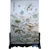 Chinese Room Divider Screen on Stand - Lotus Pond